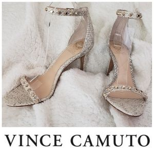 Vince Camuto white ankle strap heels animal print